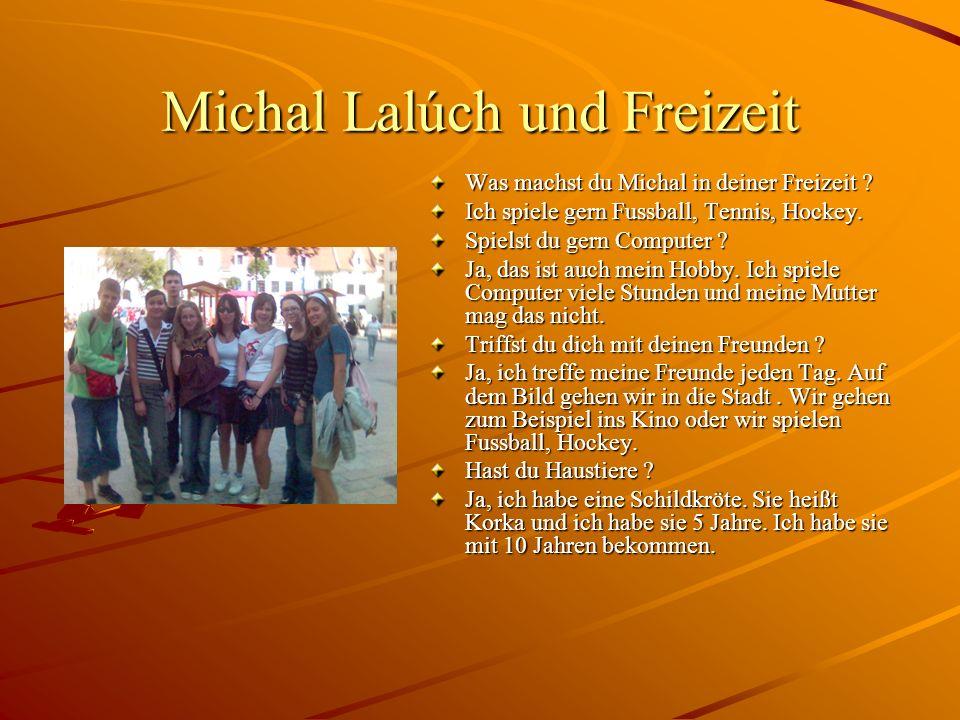 Michal Lalúch und Freizeit Was machst du Michal in deiner Freizeit ? Ich spiele gern Fussball, Tennis, Hockey. Spielst du gern Computer ? Ja, das ist