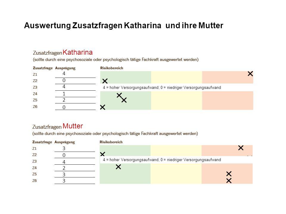 3 4 2 0 3 3 Auswertung Zusatzfragen Katharina und ihre Mutter Katharina 0 4 4 0 1 2 Mutter 4 = hoher Versorgungsaufwand; 0 = niedriger Versorgungsaufw