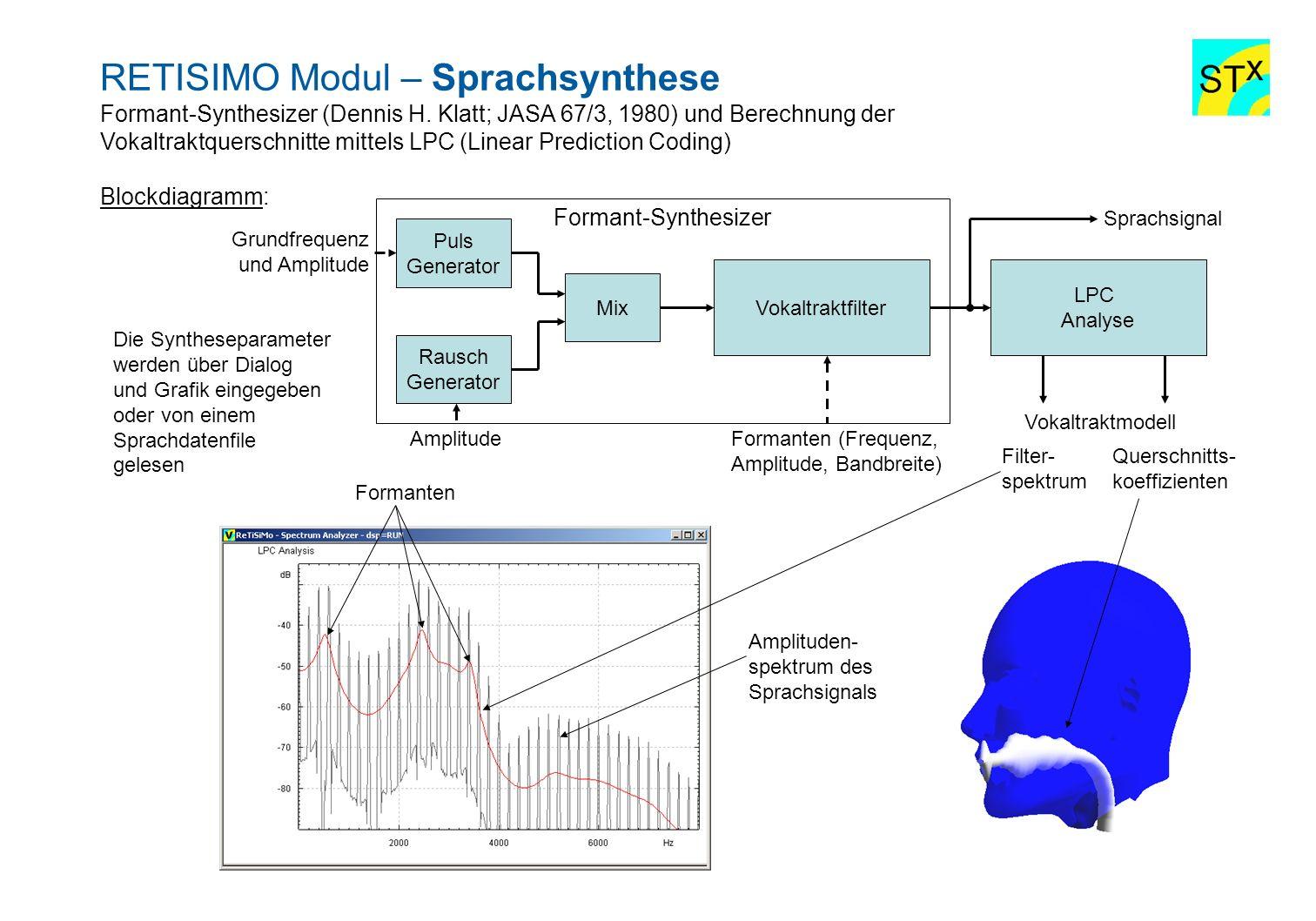 RETISIMO Modul – Sprachsynthese Formant-Synthesizer (Dennis H. Klatt; JASA 67/3, 1980) und Berechnung der Vokaltraktquerschnitte mittels LPC (Linear P
