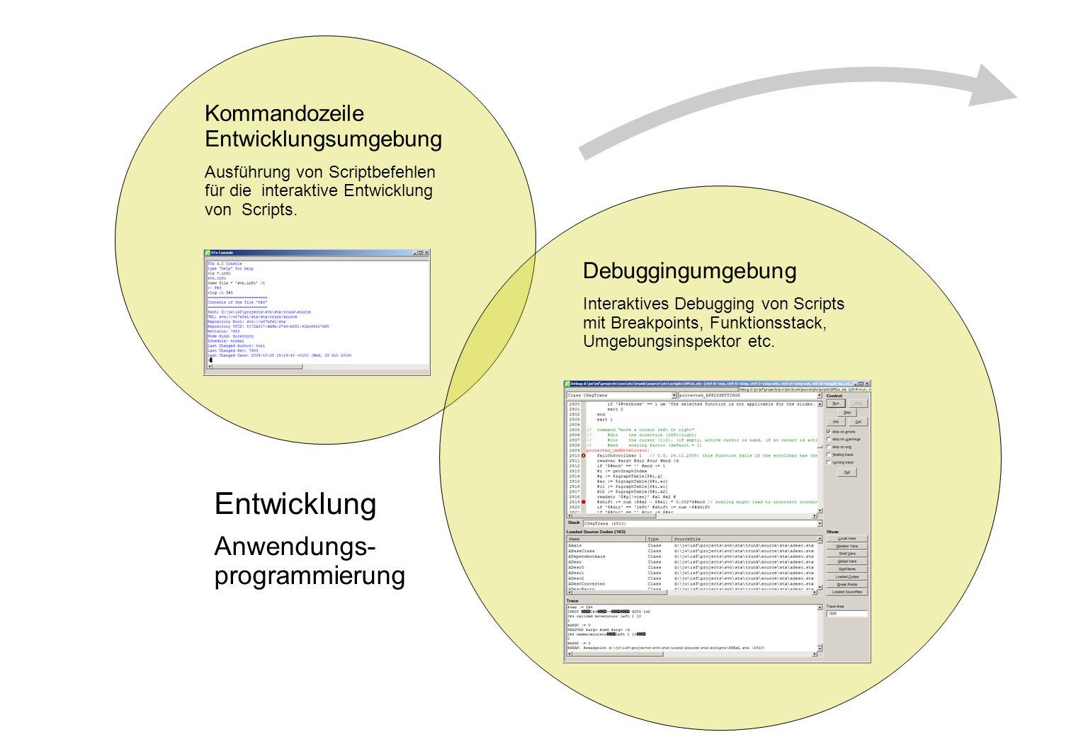 Kommandozeile Entwicklungsumgebung Ausführung von Scriptbefehlen für die interaktive Entwicklung von Scripts. Debuggingumgebung Interaktives Debugging