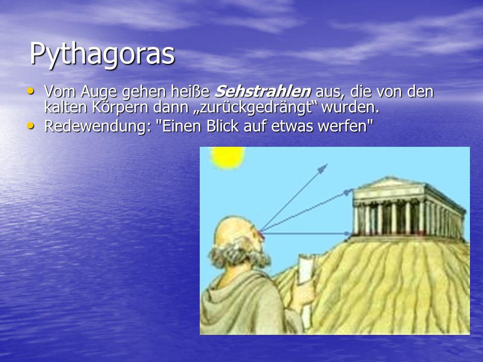 Pythagoras Vom Auge gehen heiße Sehstrahlen aus, die von den kalten Körpern dann zurückgedrängt wurden. Vom Auge gehen heiße Sehstrahlen aus, die von
