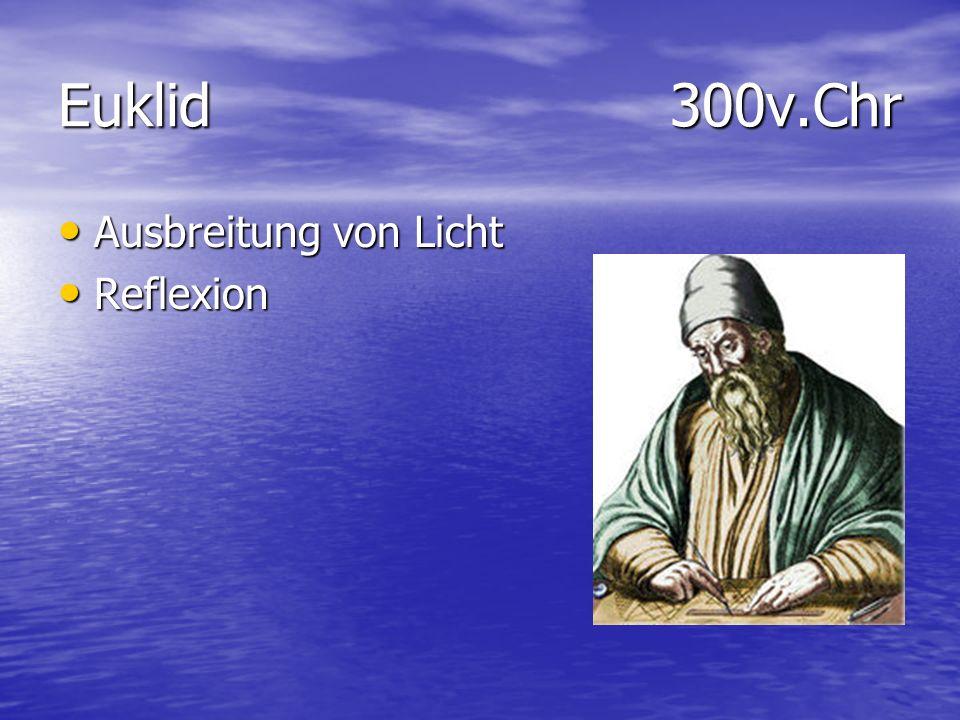 Euklid 300v.Chr Ausbreitung von Licht Ausbreitung von Licht Reflexion Reflexion