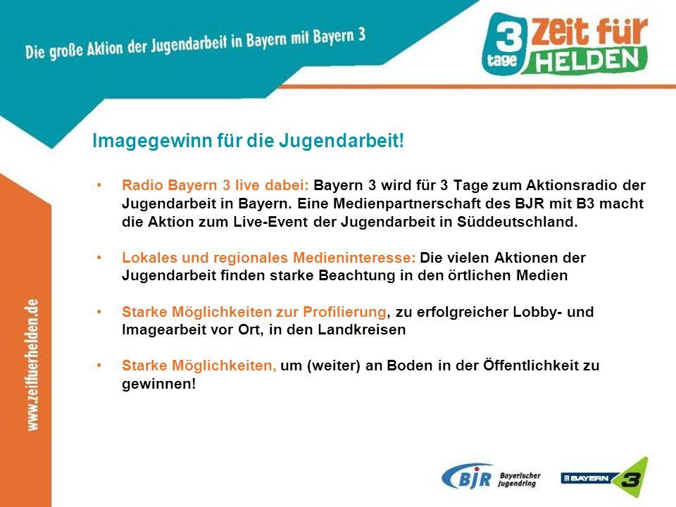Imagegewinn für die Jugendarbeit! Radio Bayern 3 live dabei: Bayern 3 wird für 3 Tage zum Aktionsradio der Jugendarbeit in Bayern. Eine Medienpartners