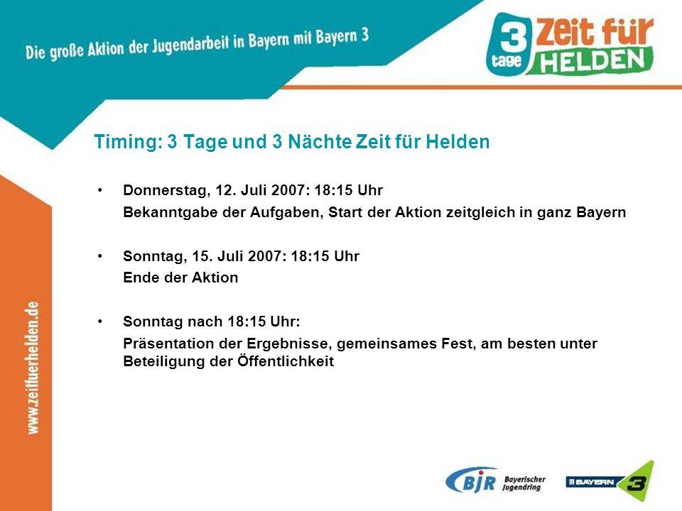 Timing: 3 Tage und 3 Nächte Zeit für Helden Donnerstag, 12. Juli 2007: 18:15 Uhr Bekanntgabe der Aufgaben, Start der Aktion zeitgleich in ganz Bayern