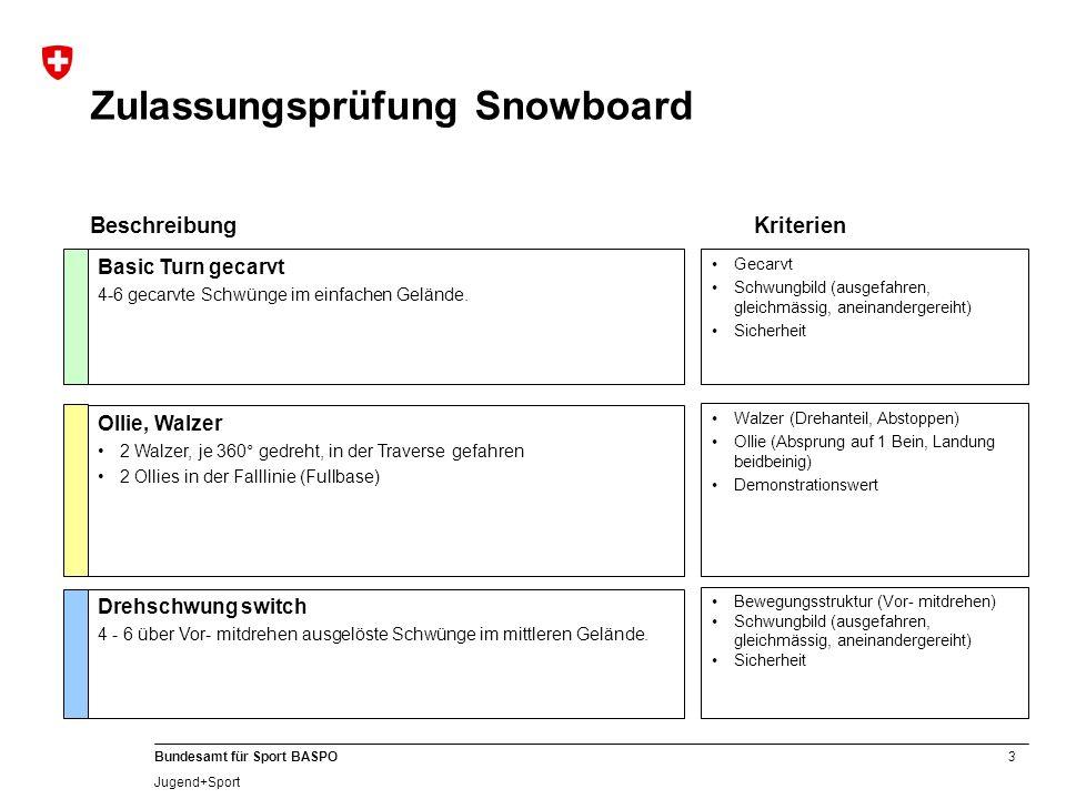 4 Bundesamt für Sport BASPO Jugend+Sport Prüfungen Grundausbildung Snowboard Wettkampf Slalom oder Boarder-Cross 2 Durchgänge als Einzelfahrt (bessere Zeit zählt) Zeit Basic Air Kicker Anfahrt (Fullbase) Absprung (angepasst an Trickanlage) Flugphase (kompakt) Landung (aktiv Fullbase) Spins und Trickturns auf der Piste 2 verschiedene 180° (180-Grad Rotationen auf der Piste) 1 Nose Turn und 1 Nose Turn switch (von Zehenkante auf Zehenkante) Neutrale Postition in Vorbereitungs- Absprung- Flug- und Landephase Optimale Weite Demonstrationswert Funktion Bewegungsstruktur (Auslösung über Vor- mitdrehen) Bewegungsfluss, Sicherheit BeschreibungKriterien