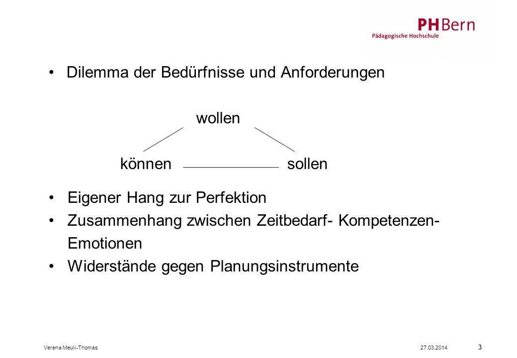 3 Dilemma der Bedürfnisse und Anforderungen wollen könnensollen Eigener Hang zur Perfektion Zusammenhang zwischen Zeitbedarf- Kompetenzen- Emotionen Widerstände gegen Planungsinstrumente Verena Meuli-Thomas