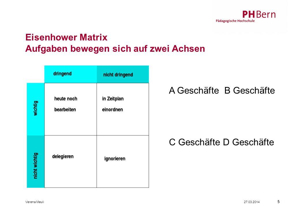 Eisenhower Matrix Aufgaben bewegen sich auf zwei Achsen 27.03.2014Verena Meuli 5 A Geschäfte B Geschäfte C Geschäfte D Geschäfte