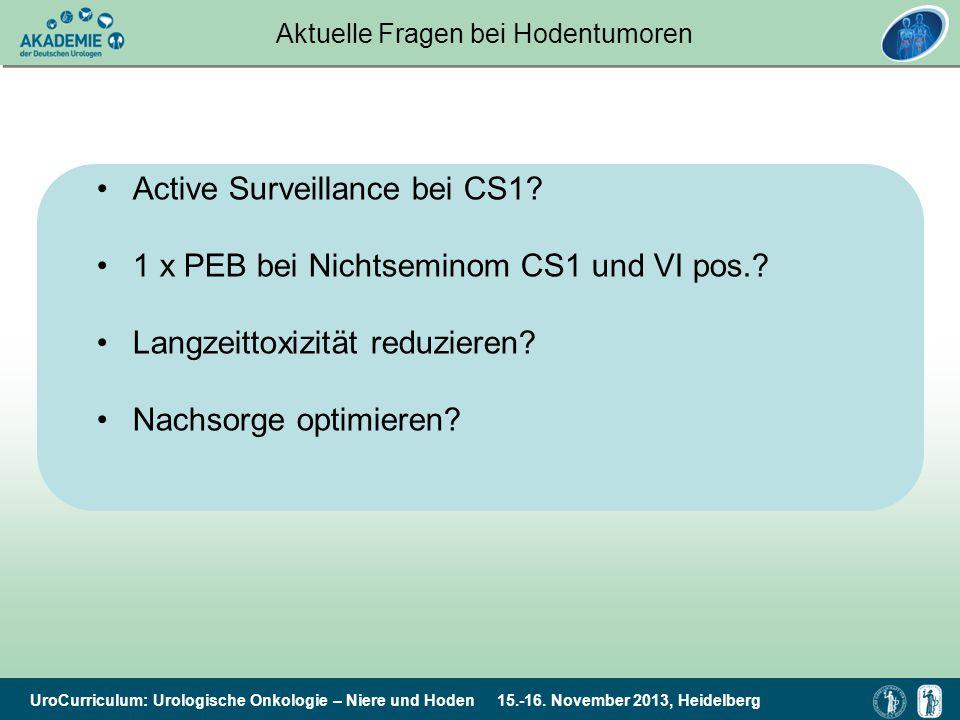 UroCurriculum: Urologische Onkologie – Niere und Hoden 15.-16. November 2013, Heidelberg Aktuelle Fragen bei Hodentumoren Active Surveillance bei CS1?