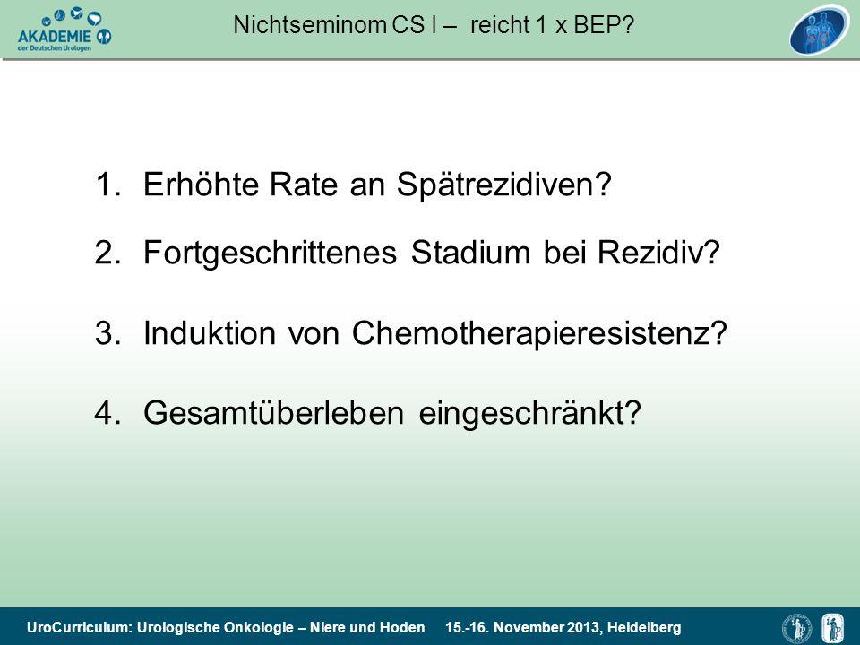 UroCurriculum: Urologische Onkologie – Niere und Hoden 15.-16. November 2013, Heidelberg Nichtseminom CS I – reicht 1 x BEP? 1.Erhöhte Rate an Spätrez