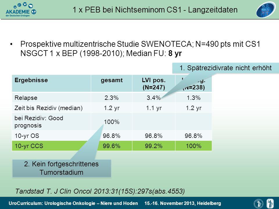 UroCurriculum: Urologische Onkologie – Niere und Hoden 15.-16. November 2013, Heidelberg 1 x PEB bei Nichtseminom CS1 - Langzeitdaten Prospektive mult