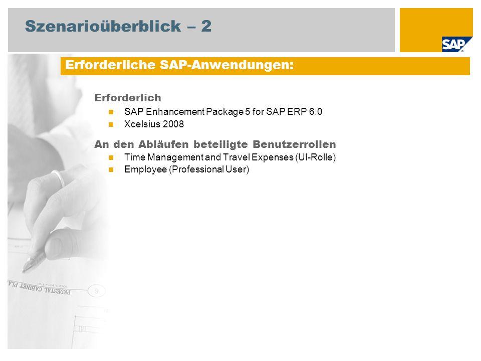 Szenarioüberblick – 2 Erforderlich SAP Enhancement Package 5 for SAP ERP 6.0 Xcelsius 2008 An den Abläufen beteiligte Benutzerrollen Time Management and Travel Expenses (UI-Rolle) Employee (Professional User) Erforderliche SAP-Anwendungen: