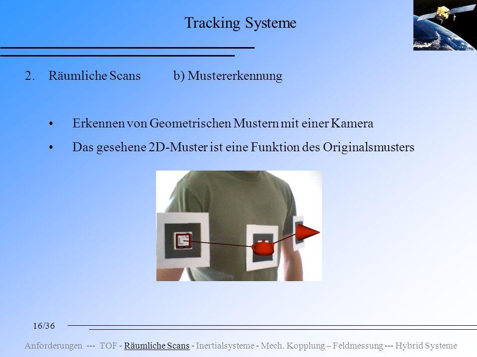 16/36 Tracking Systeme 2.Räumliche Scans b) Mustererkennung Erkennen von Geometrischen Mustern mit einer Kamera Das gesehene 2D-Muster ist eine Funktion des Originalsmusters Anforderungen --- TOF - Räumliche Scans - Inertialsysteme - Mech.