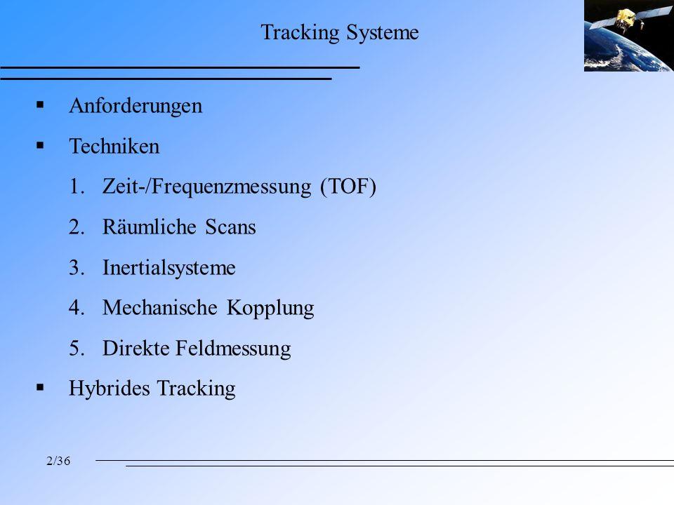 2/36 Tracking Systeme Anforderungen Techniken 1.Zeit-/Frequenzmessung (TOF) 2.Räumliche Scans 3.Inertialsysteme 4.Mechanische Kopplung 5.Direkte Feldmessung Hybrides Tracking