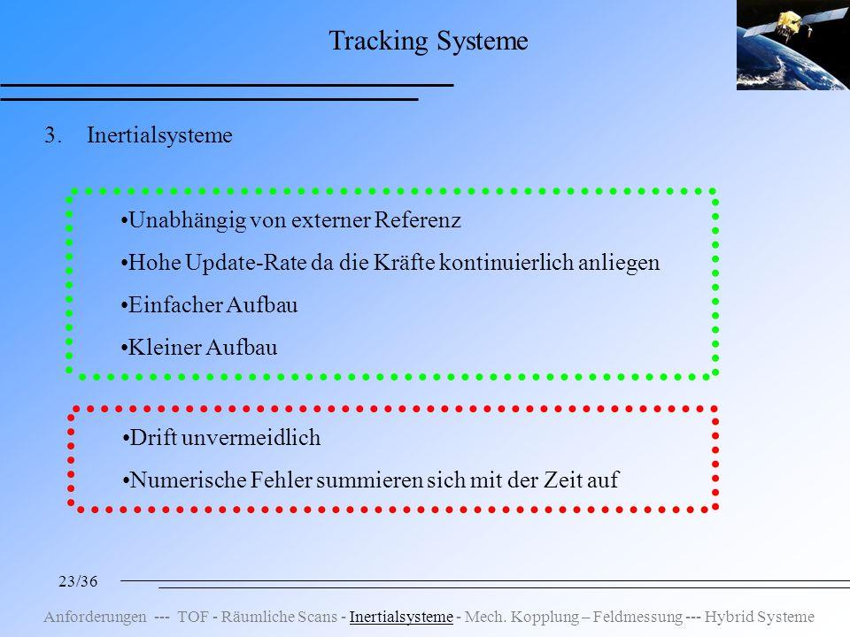 23/36 Tracking Systeme 3.Inertialsysteme Unabhängig von externer Referenz Hohe Update-Rate da die Kräfte kontinuierlich anliegen Einfacher Aufbau Kleiner Aufbau Drift unvermeidlich Numerische Fehler summieren sich mit der Zeit auf Anforderungen --- TOF - Räumliche Scans - Inertialsysteme - Mech.
