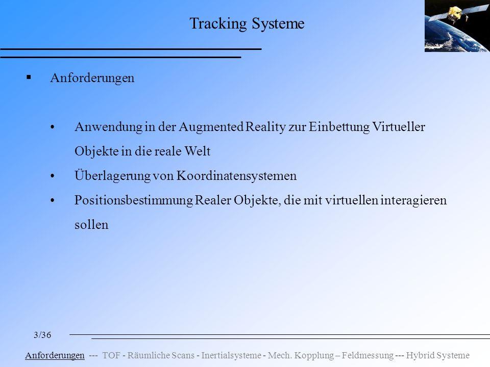 3/36 Tracking Systeme Anforderungen Anwendung in der Augmented Reality zur Einbettung Virtueller Objekte in die reale Welt Überlagerung von Koordinatensystemen Positionsbestimmung Realer Objekte, die mit virtuellen interagieren sollen Anforderungen --- TOF - Räumliche Scans - Inertialsysteme - Mech.
