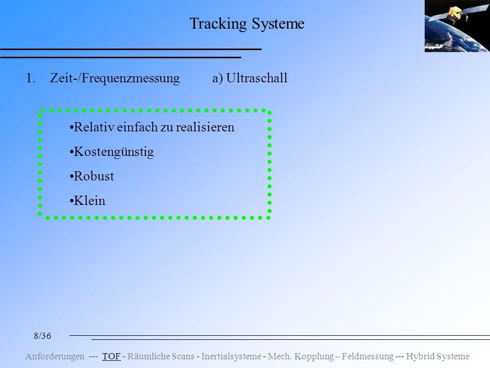 8/36 Tracking Systeme 1.Zeit-/Frequenzmessung a) Ultraschall Relativ einfach zu realisieren Kostengünstig Robust Klein Anforderungen --- TOF - Räumliche Scans - Inertialsysteme - Mech.