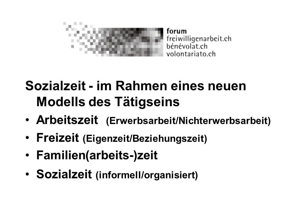 Sozialzeit - im Rahmen eines neuen Modells des Tätigseins Arbeitszeit (Erwerbsarbeit/Nichterwerbsarbeit) Freizeit (Eigenzeit/Beziehungszeit) Familien(