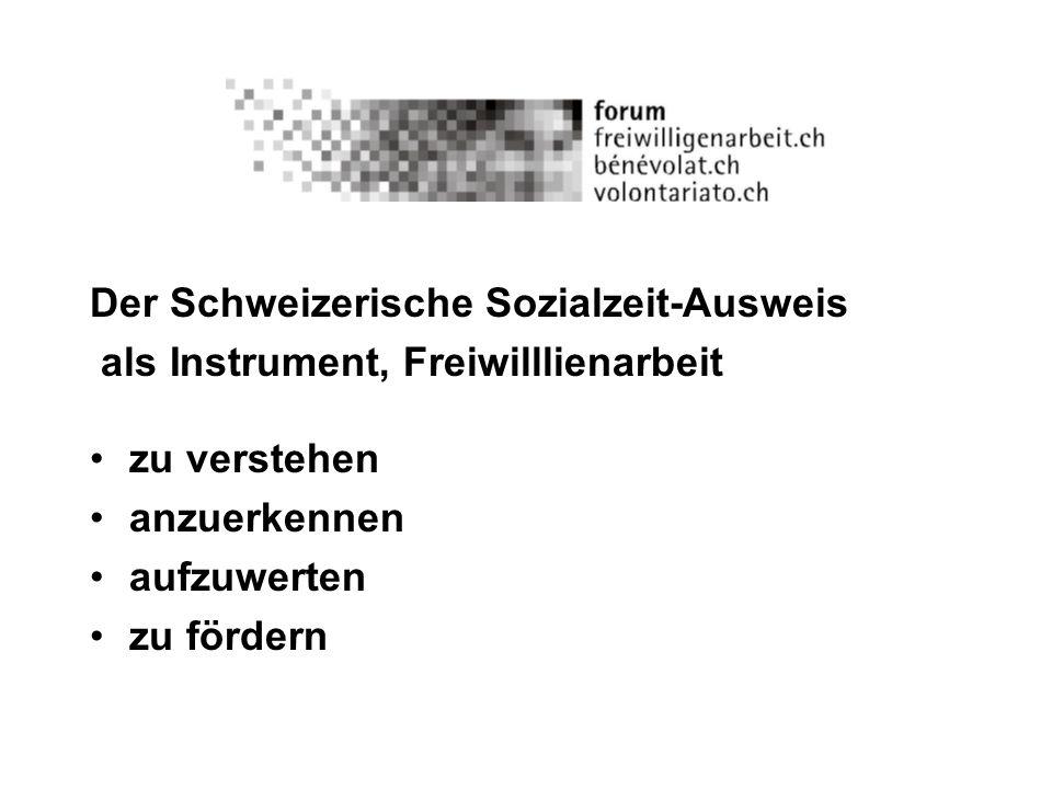 Der Schweizerische Sozialzeit-Ausweis ist kein Ausweis, der die Mitgliedschaft in einer Organisation bestätigt, sondern ist in Form einer Dokumentenmappe eine Sammlung von Dokumenten, aus denen hervorgeht, welche gesellschaftlich relevanten Arbeiten/Einsätze eine Person freiwillig/ehrenamtlich geleistet hat.