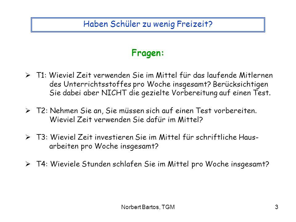 Norbert Bartos, TGM4 Haben Schüler zu wenig Freizeit.