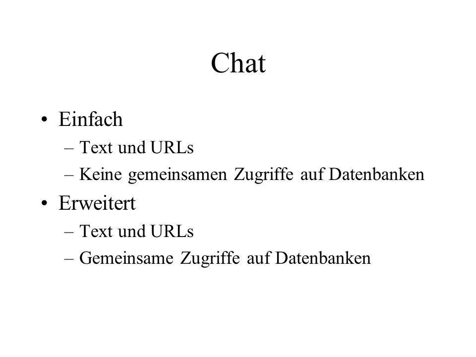 Chat Einfach –Text und URLs –Keine gemeinsamen Zugriffe auf Datenbanken Erweitert –Text und URLs –Gemeinsame Zugriffe auf Datenbanken