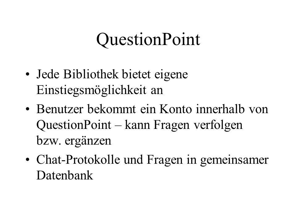 QuestionPoint Jede Bibliothek bietet eigene Einstiegsmöglichkeit an Benutzer bekommt ein Konto innerhalb von QuestionPoint – kann Fragen verfolgen bzw