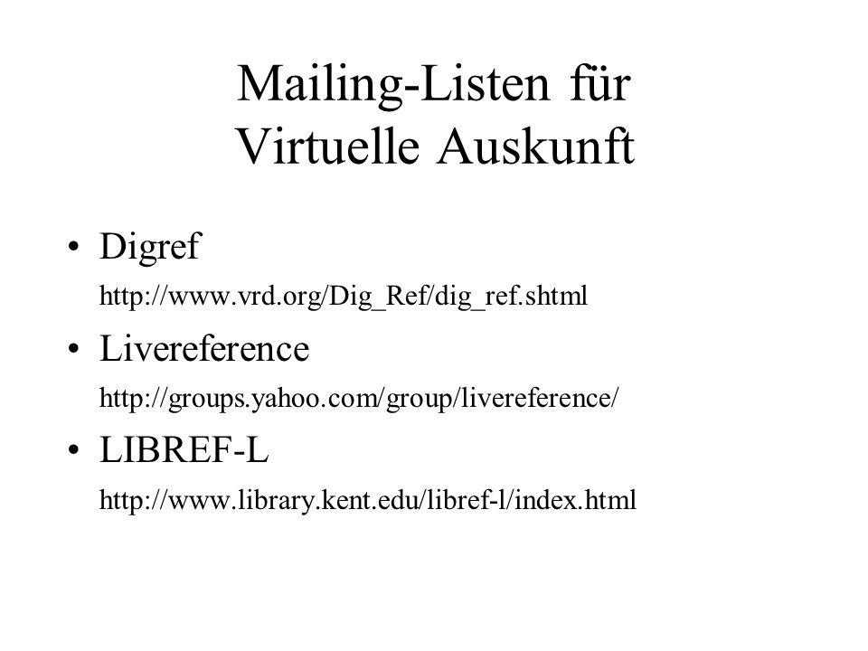 Mailing-Listen für Virtuelle Auskunft Digref http://www.vrd.org/Dig_Ref/dig_ref.shtml Livereference http://groups.yahoo.com/group/livereference/ LIBREF-L http://www.library.kent.edu/libref-l/index.html