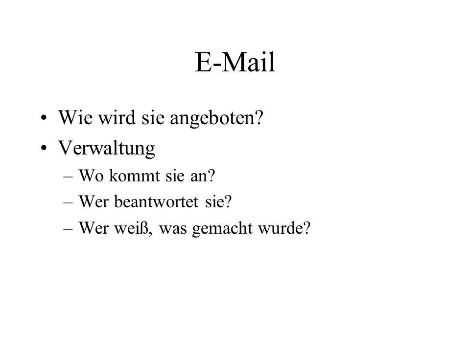 E-Mail Wie wird sie angeboten? Verwaltung –Wo kommt sie an? –Wer beantwortet sie? –Wer weiß, was gemacht wurde?