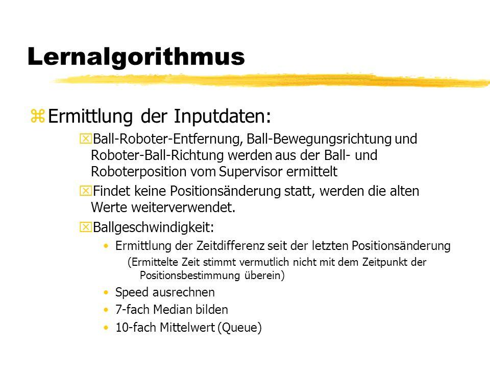 Lernalgorithmus zErmittlung der Inputdaten: xBall-Roboter-Entfernung, Ball-Bewegungsrichtung und Roboter-Ball-Richtung werden aus der Ball- und Roboterposition vom Supervisor ermittelt xFindet keine Positionsänderung statt, werden die alten Werte weiterverwendet.