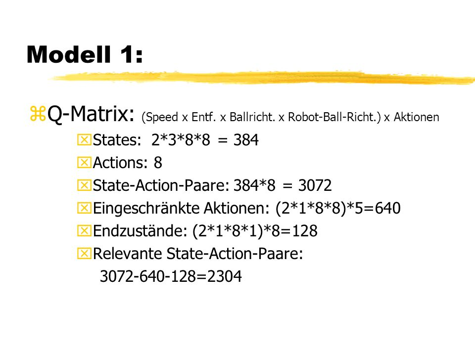 Modell 1: zQ-Matrix: (Speed x Entf. x Ballricht.