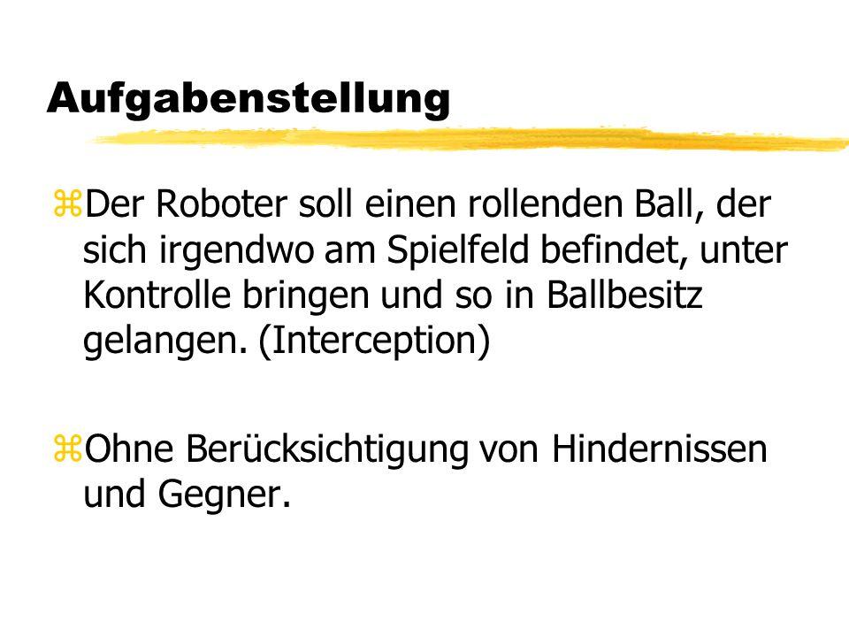 Aufgabenstellung zDer Roboter soll einen rollenden Ball, der sich irgendwo am Spielfeld befindet, unter Kontrolle bringen und so in Ballbesitz gelangen.