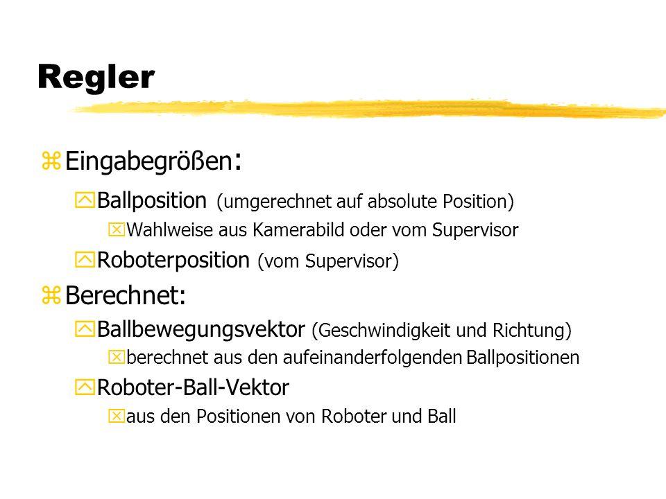 Regler zEingabegrößen : yBallposition (umgerechnet auf absolute Position) xWahlweise aus Kamerabild oder vom Supervisor yRoboterposition (vom Supervisor) zBerechnet: yBallbewegungsvektor (Geschwindigkeit und Richtung) xberechnet aus den aufeinanderfolgenden Ballpositionen yRoboter-Ball-Vektor xaus den Positionen von Roboter und Ball