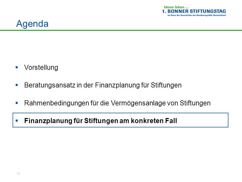 11 Agenda Vorstellung Beratungsansatz in der Finanzplanung für Stiftungen Rahmenbedingungen für die Vermögensanlage von Stiftungen Finanzplanung für S