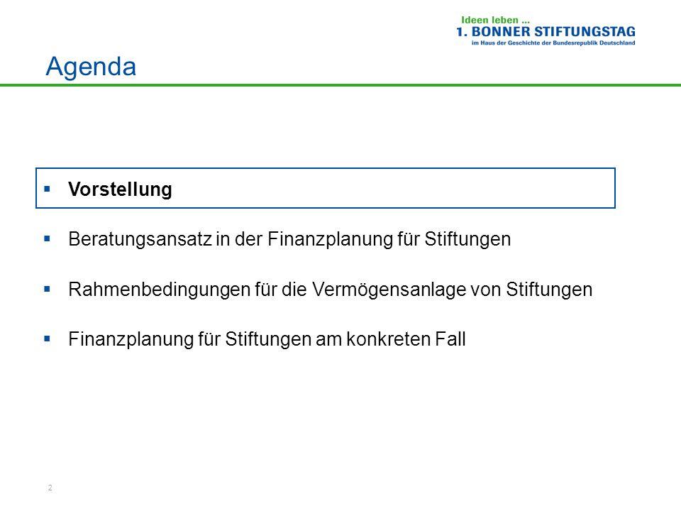 2 Agenda Vorstellung Beratungsansatz in der Finanzplanung für Stiftungen Rahmenbedingungen für die Vermögensanlage von Stiftungen Finanzplanung für St