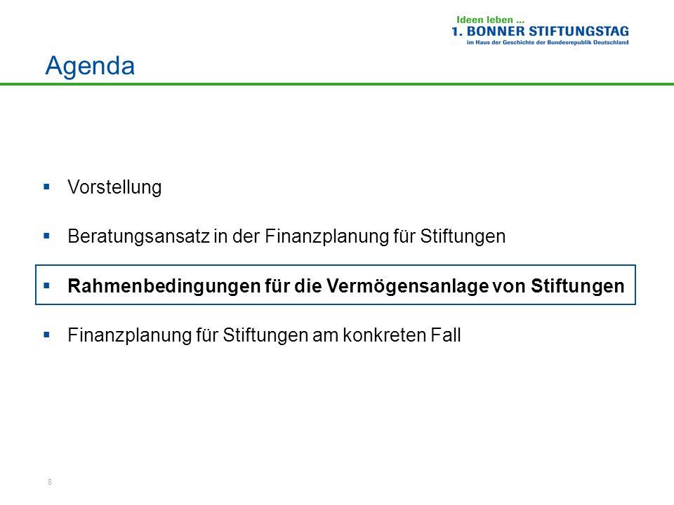 8 Agenda Vorstellung Beratungsansatz in der Finanzplanung für Stiftungen Rahmenbedingungen für die Vermögensanlage von Stiftungen Finanzplanung für St