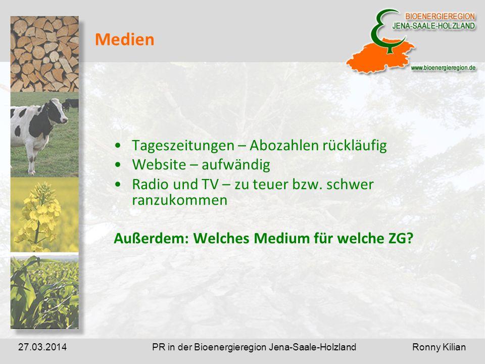 PR in der Bioenergieregion Jena-Saale-Holzland Ronny Kilian27.03.2014 Medien Tageszeitungen – Abozahlen rückläufig Website – aufwändig Radio und TV – zu teuer bzw.