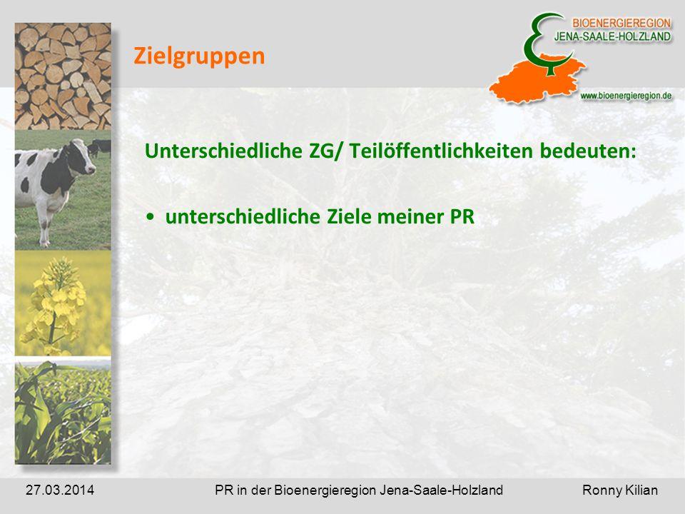 PR in der Bioenergieregion Jena-Saale-Holzland Ronny Kilian27.03.2014 Zielgruppen Unterschiedliche ZG/ Teilöffentlichkeiten bedeuten: unterschiedliche Ziele meiner PR
