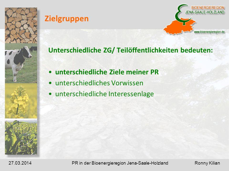 PR in der Bioenergieregion Jena-Saale-Holzland Ronny Kilian27.03.2014 Zielgruppen Unterschiedliche ZG/ Teilöffentlichkeiten bedeuten: unterschiedliche Ziele meiner PR unterschiedliches Vorwissen unterschiedliche Interessenlage