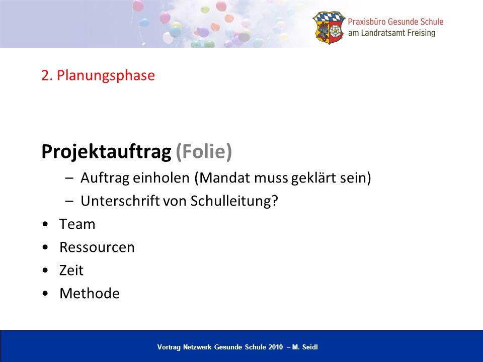 Vortrag Netzwerk Gesunde Schule 2010 – M. Seidl 2. Planungsphase Projektauftrag (Folie) –Auftrag einholen (Mandat muss geklärt sein) –Unterschrift von