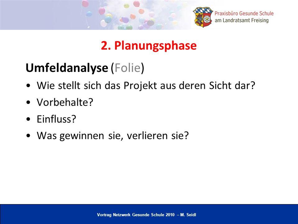 Vortrag Netzwerk Gesunde Schule 2010 – M. Seidl 2. Planungsphase Umfeldanalyse (Folie) Wie stellt sich das Projekt aus deren Sicht dar? Vorbehalte? Ei