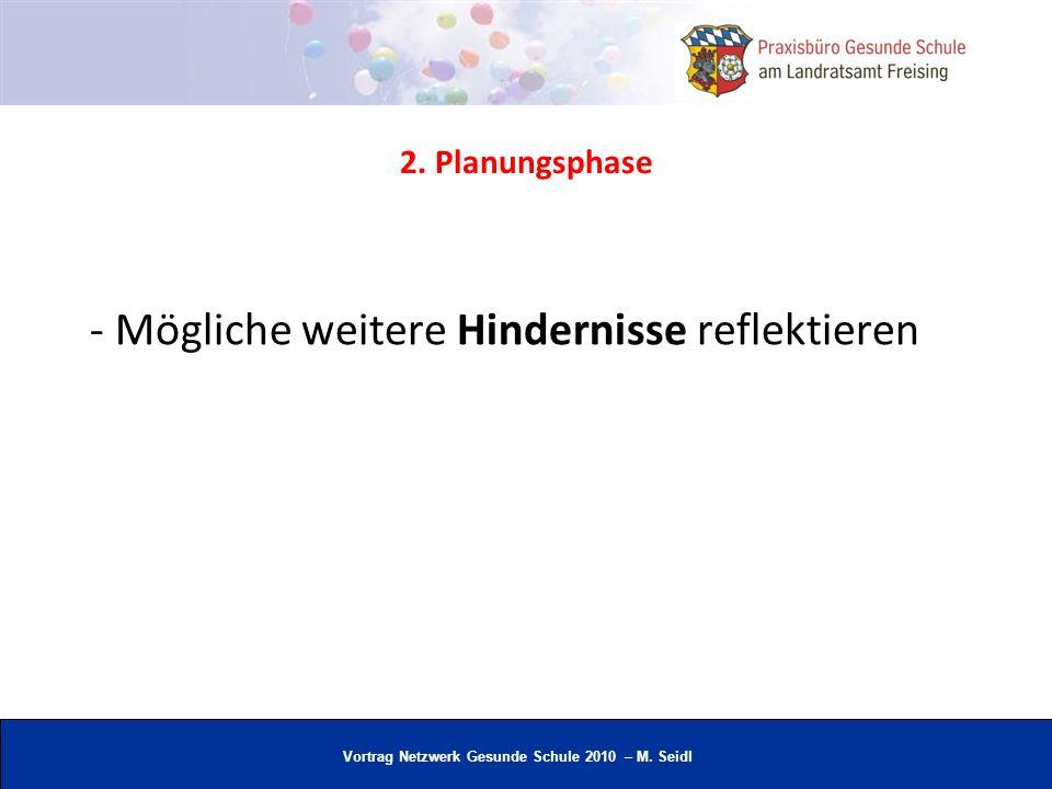 Vortrag Netzwerk Gesunde Schule 2010 – M. Seidl - Mögliche weitere Hindernisse reflektieren 2. Planungsphase