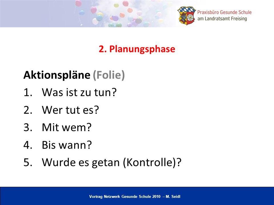 Vortrag Netzwerk Gesunde Schule 2010 – M. Seidl 2. Planungsphase Aktionspläne (Folie) 1.Was ist zu tun? 2.Wer tut es? 3.Mit wem? 4.Bis wann? 5.Wurde e