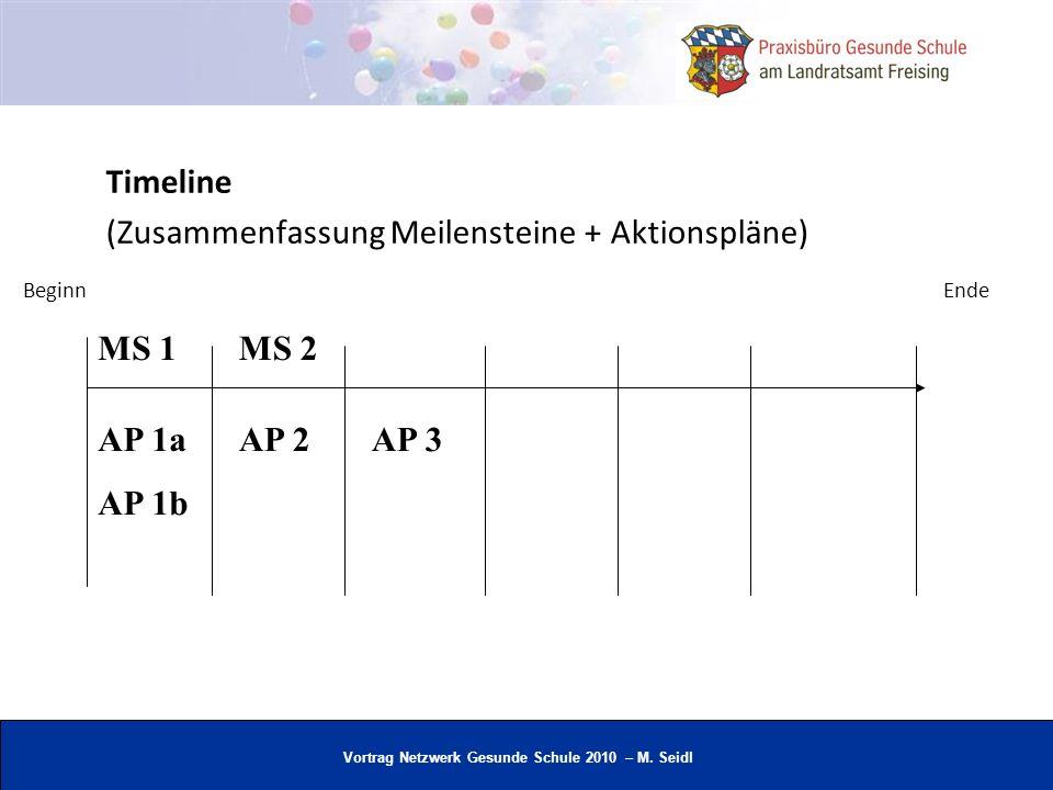 Vortrag Netzwerk Gesunde Schule 2010 – M. Seidl Timeline (Zusammenfassung Meilensteine + Aktionspläne) AP 1a AP 1b AP 2AP 3 MS 1MS 2 BeginnEnde