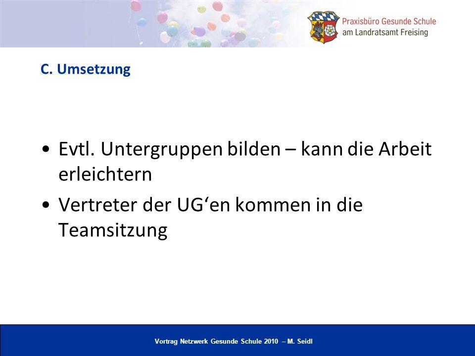 Vortrag Netzwerk Gesunde Schule 2010 – M. Seidl C. Umsetzung Evtl. Untergruppen bilden – kann die Arbeit erleichtern Vertreter der UGen kommen in die