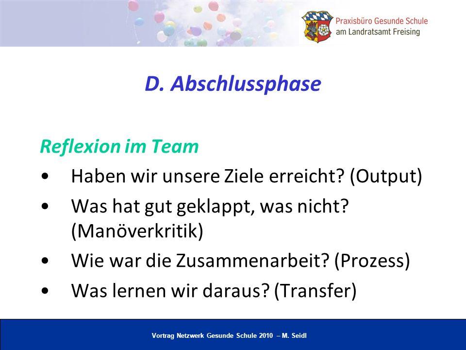 Vortrag Netzwerk Gesunde Schule 2010 – M. Seidl D. Abschlussphase Reflexion im Team Haben wir unsere Ziele erreicht? (Output) Was hat gut geklappt, wa