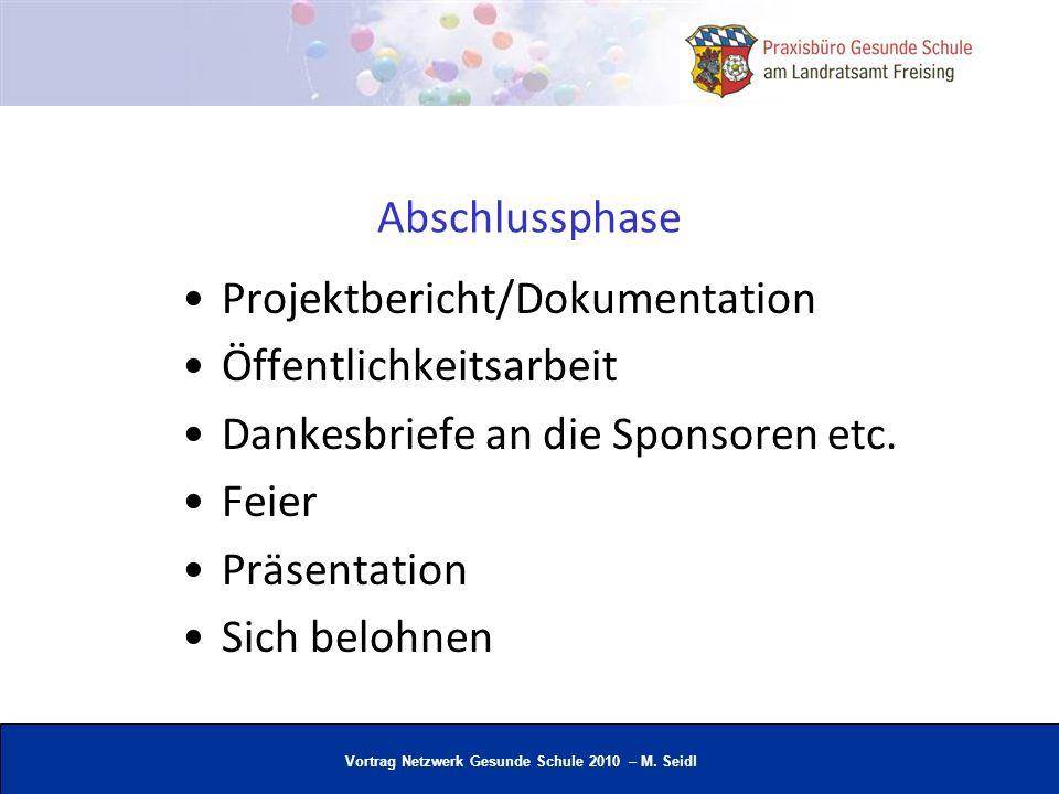Vortrag Netzwerk Gesunde Schule 2010 – M. Seidl Abschlussphase Projektbericht/Dokumentation Öffentlichkeitsarbeit Dankesbriefe an die Sponsoren etc. F