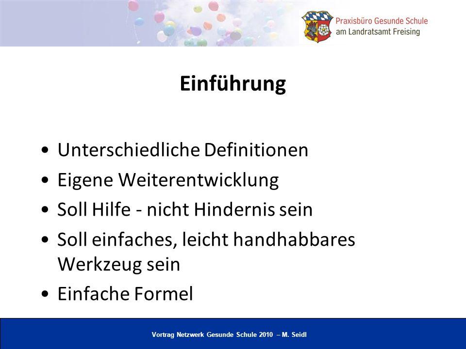 Vortrag Netzwerk Gesunde Schule 2010 – M. Seidl Einführung Unterschiedliche Definitionen Eigene Weiterentwicklung Soll Hilfe - nicht Hindernis sein So