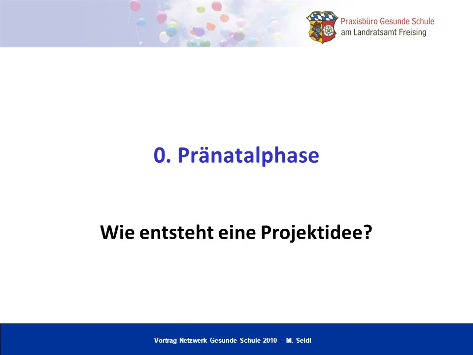 Vortrag Netzwerk Gesunde Schule 2010 – M. Seidl Auch an mögliche Ressourcen denken 2. Planungsphase