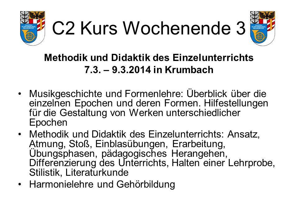 C2 Kurs Wochenende 3 Methodik und Didaktik des Einzelunterrichts 7.3.