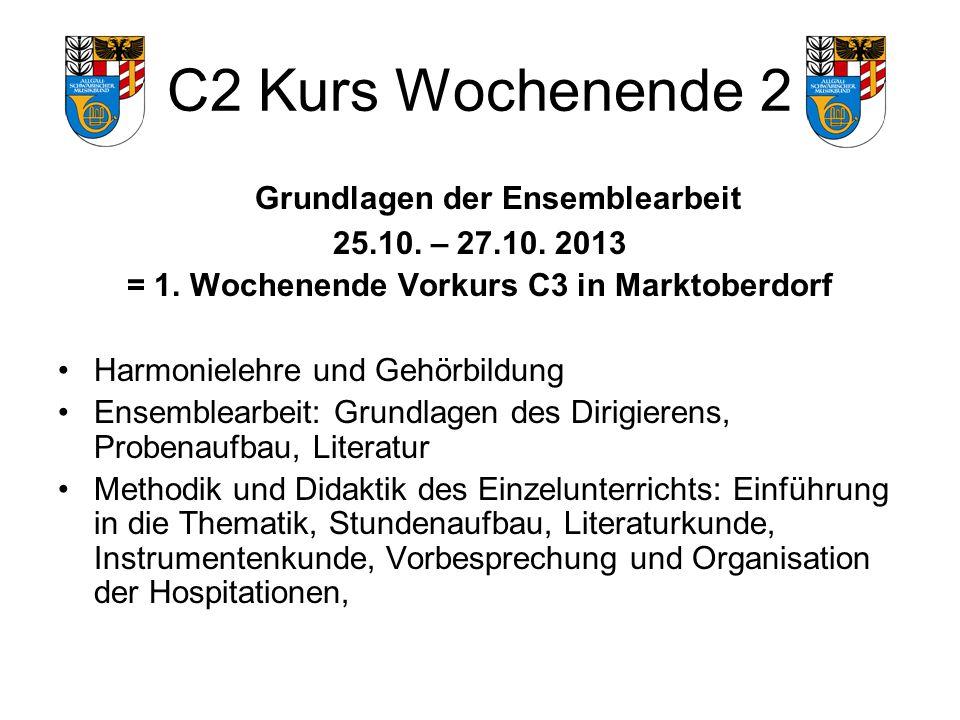 C2 Kurs Wochenende 2 Grundlagen der Ensemblearbeit 25.10.