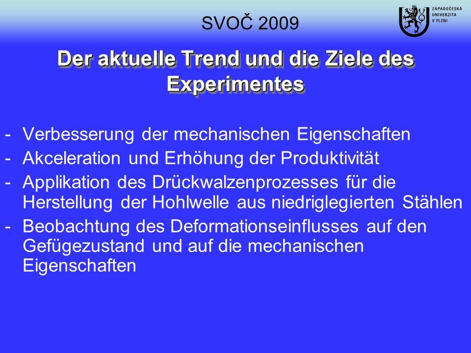 Der aktuelle Trend und die Ziele des Experimentes -Verbesserung der mechanischen Eigenschaften -Akceleration und Erhöhung der Produktivität -Applikati